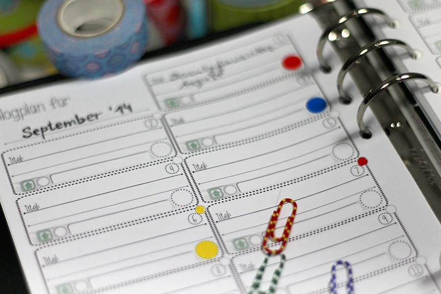 Filofax-Monatsübersicht-Blogplan