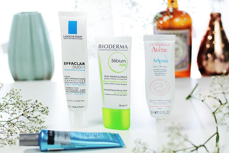 Gesichtspflege-routine-unreine-Haut-Bioderma-la-roche-posay-effaclar-avene-triacneal
