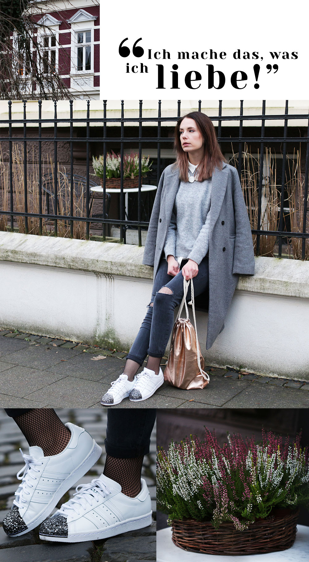 Outfit grauer Mantel, Netzstrumpfhose, Sneakers Collage