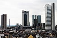 Aussicht Frankfurter Skyline vom Wyndham Grand Hotel