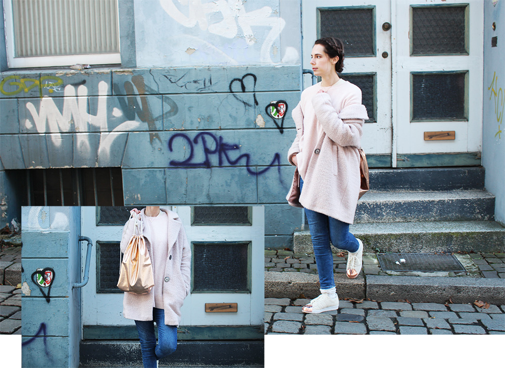 rosa mantel outfit kombinieren
