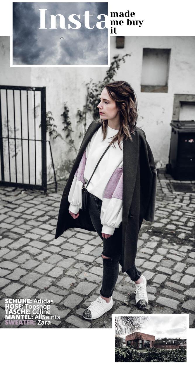 Zara Sweater Plüschärmel, Outfitdetails Adidas, Topshop, Celine