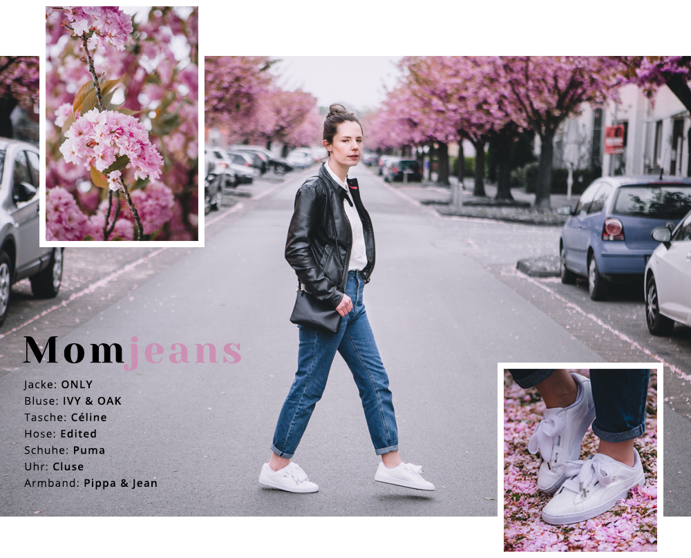 Mom Jeans mit Sneakers, Bluse und Lederjacke kombinieren