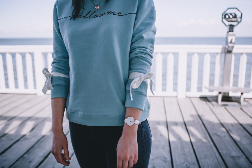 Statement Sweater, Schleifenärmel, Daniel Wellington Classic Petite