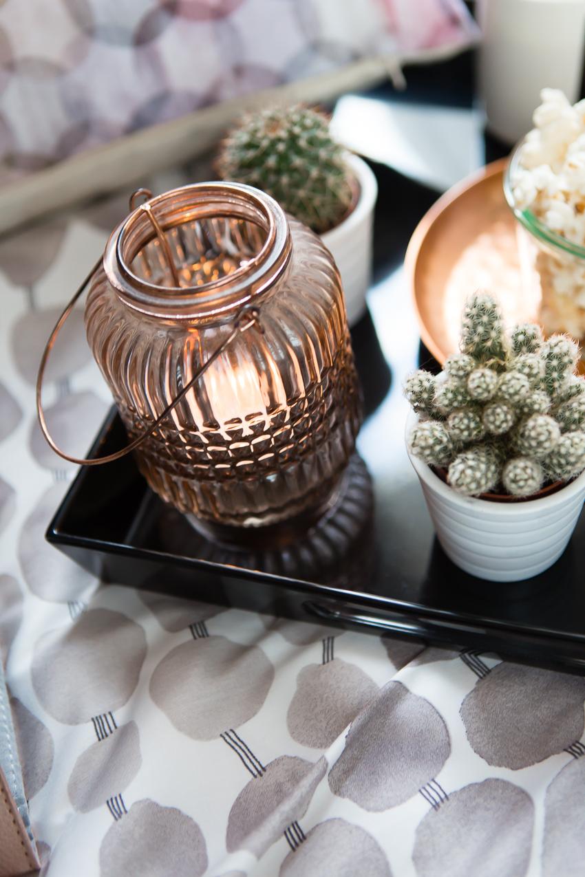 Herbstdeko Details mit Kupfer Teelicht