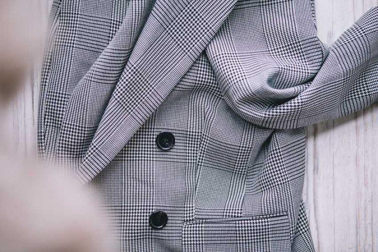 Karierter Blazer, Glencheck Muster, schwarze Knöpfe, H&M Karoblazer