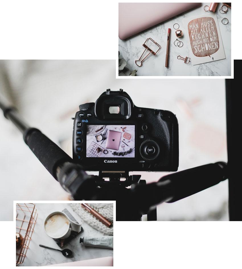 Flatlays dekorieren Kameraeinstellungen für Flatlays