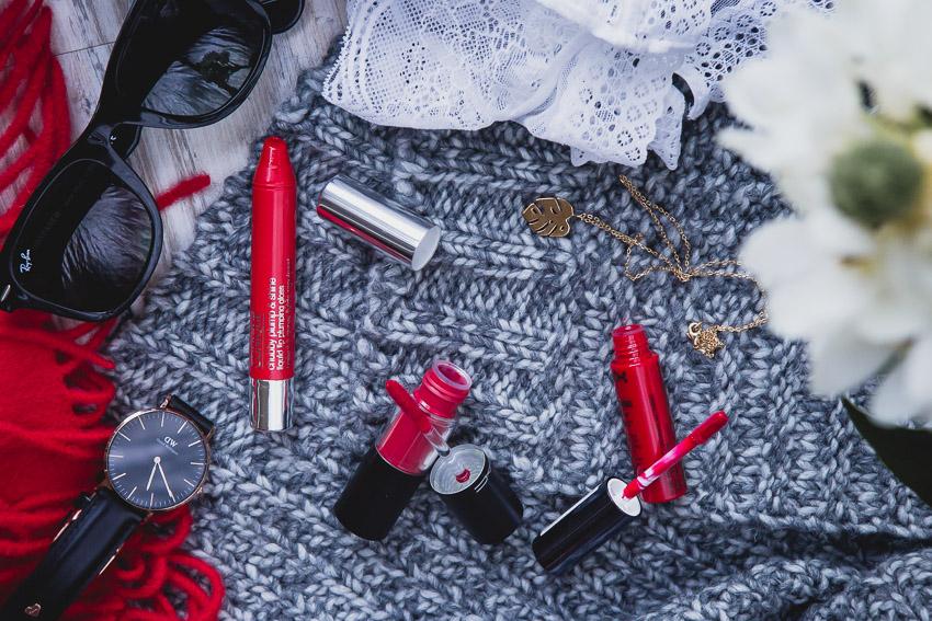 glänzende rote Lippenstifte für jeden Tag