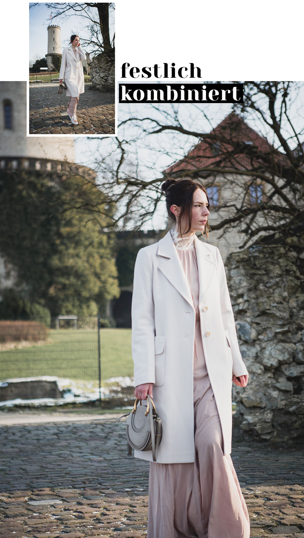 Hellen Mantel mit langem Kleid festlich kombinieren