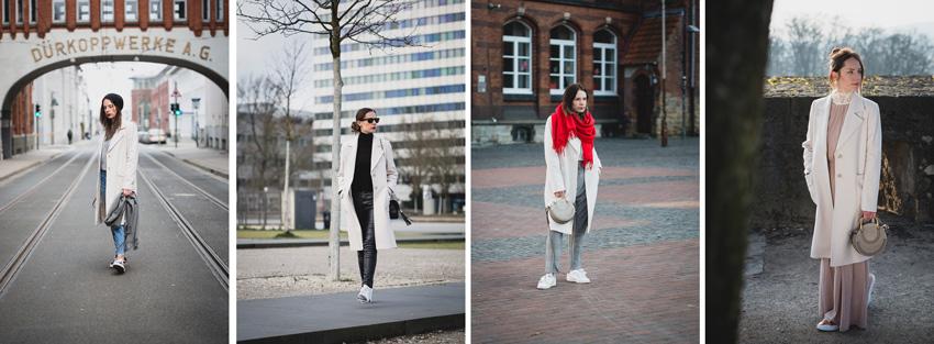 Styling Ideen für hellen Mantel