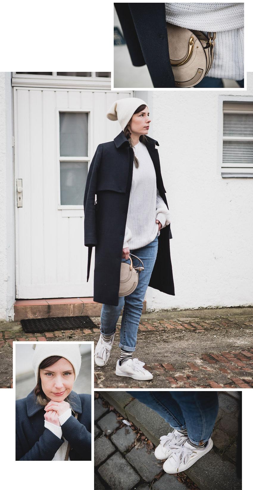 Chloe Pixie Bag in Motty Grey zum Alltagsoutfit mit weißem Pullover kombinieren